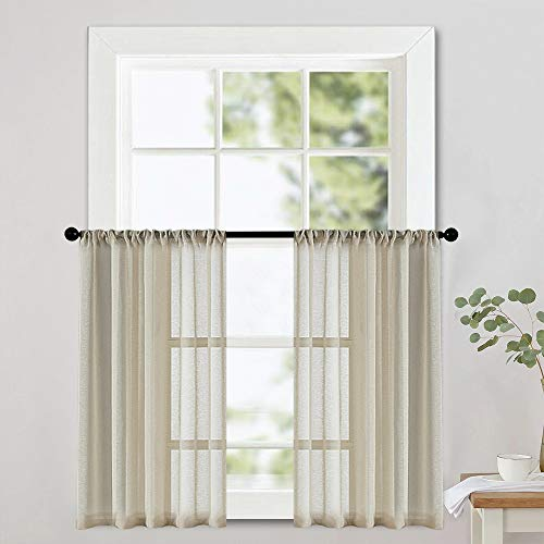 MRTREES Short Sheer Tier Curtains 24 inches Long Beige Curtain Sheers Kitchen Tiers Bathroom Small Curtain Panels Cafe Curtains Voile Window Treatment Rod Pocket Light Filtering 2 - Curtain Tier 24 Inch