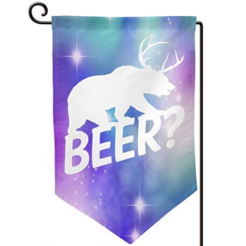 Xuforget Outdoor Garden Beer Bear Deer Flag Double-Sided Decorative Flags 12.5 X ()