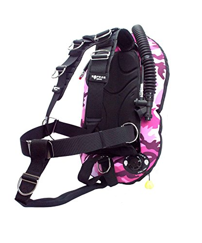 SoprasTek LZ 14 BCD 30lbs bladder aluminum backplate Single Tank BC Scuba Diving Travel Low Volume 8 D Ring Wing Bcd, Black/Pink