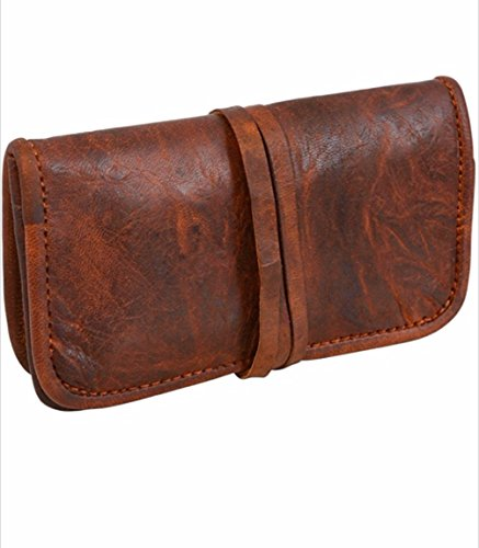 Vintage Stuff Handmade Genuine Leather Stationery Make-Up Wrap Case Pouch Headphone Holder Unisex Small Brown