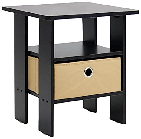 furinno 11157exbr end table bedroom night stand wbin drawer espresso - Bedroom End Tables