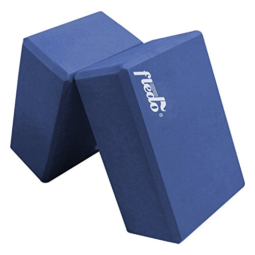 Review Fledo Yoga Blocks (Set of 2) 9″x6″x4″ – Eco-friendly EVA Foam Brick, Featherweight and Comfy – Provides Stability and Balance – Ideal for Exercise, Pilates, Workout, Fitness & Gym (Blue)
