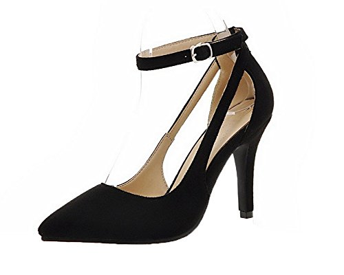 Flats Solid Tacco Nero AgooLar Fibbia GMMDB006713 Medio Donna Ballet w5RxOYEq