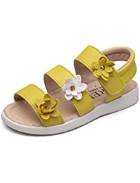 O&N Kids Little Girls Gladiator Flower Strappy Princess Flat Sandals Flip Flops Beach Shoes