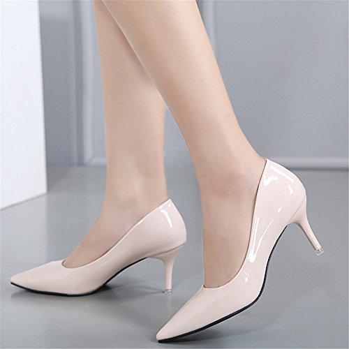 WHL Shoes Zapatos De Tacón Alto Sandalias Punta Fina Seguido Con La Luz De Laca Negra Trabajos En Cuero Beige
