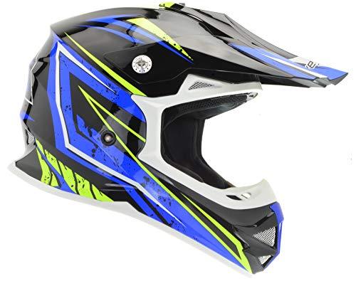 Enduro Atv - Vega Helmets Unisex-Child Kids Youth Dirt Bike, Motocross Full Face Helmet for Off-Road ATV MX Enduro Quad Sport (Blue Tactic Graphic, LARGE)