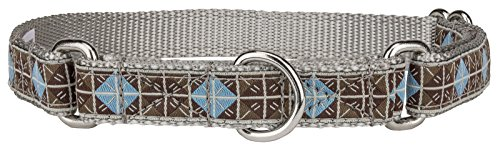 Country Brook Design Blue & Brown Diamond Woven Ribbon on Silver Martingale Dog Collar Limited Edition - Small