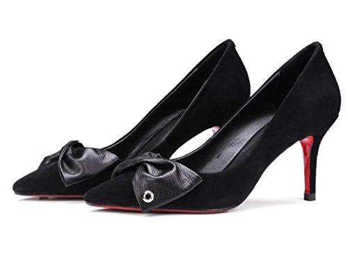 De Sueltos Negro T Boca Verano Mate Altos Primavera Cuero Tacones Zapatos En Zapatos Ante Y Oveja Baja Damas xqPnHnXT