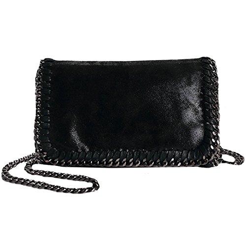 (Felice Women Chain Paillette Handbags Purse Hobo Hipster Foldover Tote Shoulder Crossbody Bag (black))