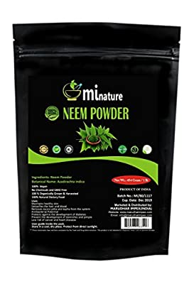 mi nature Neem Leaf Powder (AZADIRACHTA INDICA)/100% Pure, Natural and Organic - (454g/(1 lb)/16 ounces) - Resealable Zip Lock Pouch