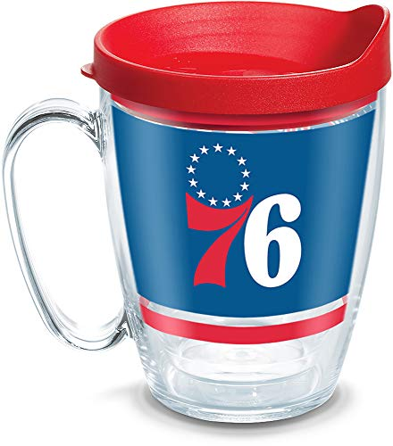 (Tervis 1309238 NBA Philadelphia 76ers Legend Insulated Tumbler with Wrap and Red Lid, 16oz Mug, Clear)