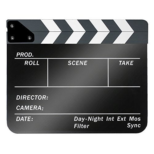 Neewer Acrylic Plastic 10x12in/25x30cm Dry Erase Director's Film Movie Clapboard Cut Action Scene Clapper Board Slate with White/Black Sticks -