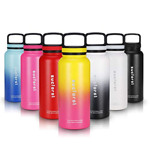 Insulated Food Bottle - SUCFORST 32 oz Water Bottle with 2 straw Lid, Vacuum Insulated Wide Mouth Thermos Flask, Hot 12 Hours & Cold 24 Hours - Powder Coated Double Walled Metal Bottles - Pink/Yellow