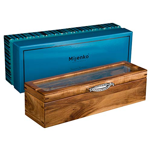 (Mijenko Wooden Tea Box Chest with Glass Lid Beautiful Wood Storage Display Boxes Tea Bag and Loose Leaf Holder and Organizer Luxury Gift Set Silver Birthday Wedding Engagement Xmas Anniversary jewelry)