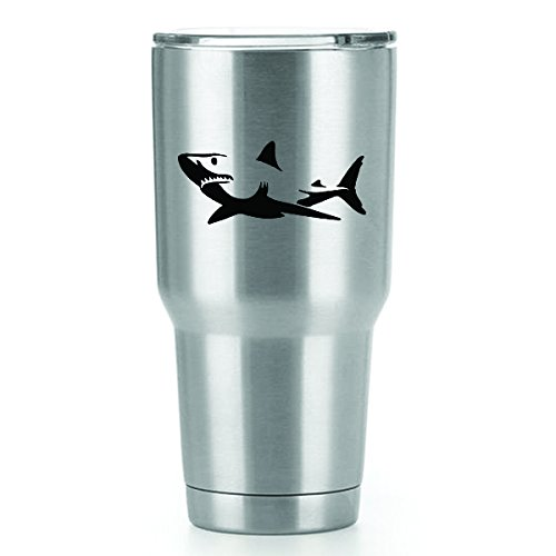 (Great White Shark Vinyl Decals Stickers (2 Pack!!!) | Yeti Tumbler Cup Ozark Trail RTIC Orca | Decals Only! Cup not Included! | 2-4 X 1.75 inch Black Decals | KCD1104)