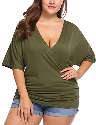 IN'VOLAND Plus Size Women V Neck Wrap Front Drape Tops Short Sleeve Pleated Waist Shirt Blouse Olive - Wrap Size Capri Plus