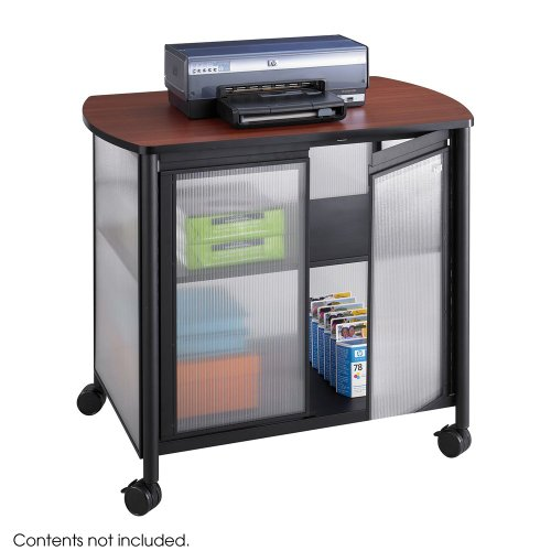 SAFCO PRODUCTS 1859BL Impromptu Deluxe Machine Stand w/Doors, 34-3/4 x 25-1/2 x 30-3/4, Black/Cherry - Impromptu Machine Stand