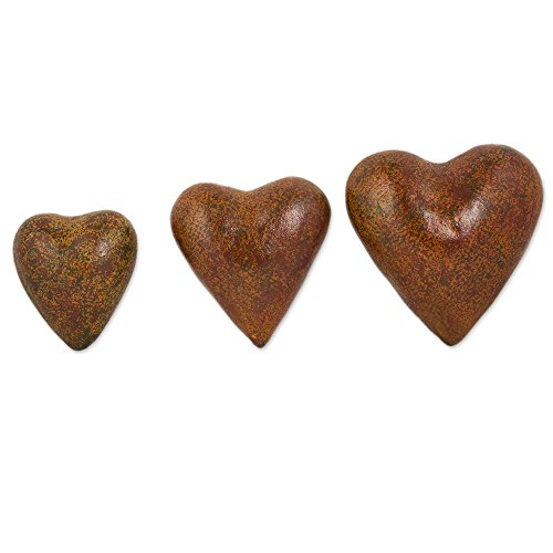 NOVICA Heart Shaped Ceramic Wall Art, Brown, 'Romantic Hearts' (set of 3)