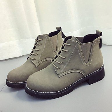 Calf Heel For Boots Boots UK6 Shoes Women'S Pu Boots US8 Fashion CN39 Mid Lace EU39 RTRY Comfort Round Up Toe Khaki Black Chunky Casual Winter zqOwTwf