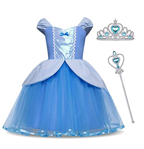 Snow White Halloween Fancy Dress (MYZLS Cinderella Princess Dress Girls Snow White Fancy Party Costume Halloween Dress Up Outfit 3-4 Years)