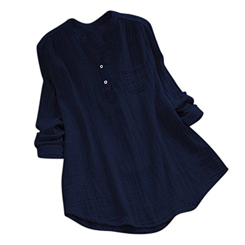 Plus Size Long Sleeve Cotton Loose Tunic Tops T Shirt Blouse (3XL, Navy) ()