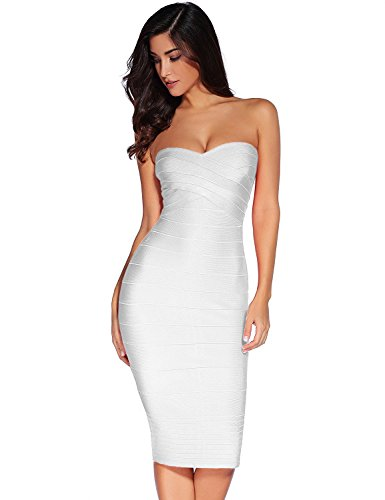 White Strapless Cocktail - Meilun Women's Rayon Strapless Below Knee Bandage Bodycon Party Fitted Dress Black (Small, White)