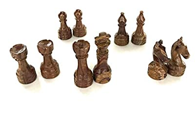 Marble Chess Pieces Chess Men with Storage Tray Handmade Polished Brown and Tan Marble by EliJax