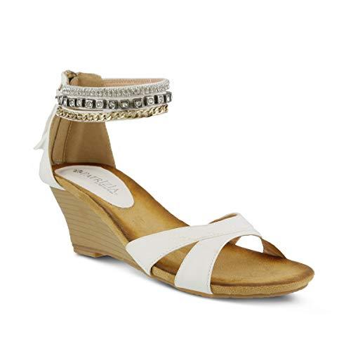 PATRIZIA Women's Rho Wedge Sandal White (Patrizia By Spring Step Rho Wedge Sandal)