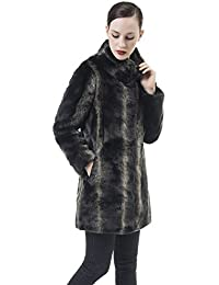 Women's Smooth Warm Soft Lush Faux Fur Coats Mid-Length Fluffy Jacket For Winter