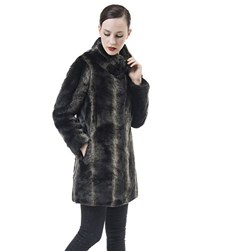 DU MONDE Women's Smooth Warm Soft Lush Faux Fur Coats Mid-Length For Winter, Large