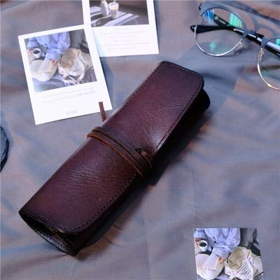 Sonita3008 Leather Roll Up Tool Bag Handmade Large Capacity Pen Bag Case Rolled Cowhide Sttiaonery Art Natural Leather Pens Holder Storage School Supplie Brown