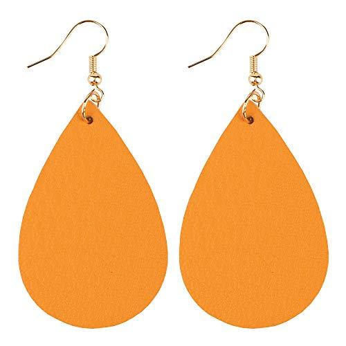 GELVTIC Leather Dangle Earrings Genuine Leather Teardrop Petal Drop Lightweight Gift for Women Girls (Mustard Yellow 1)