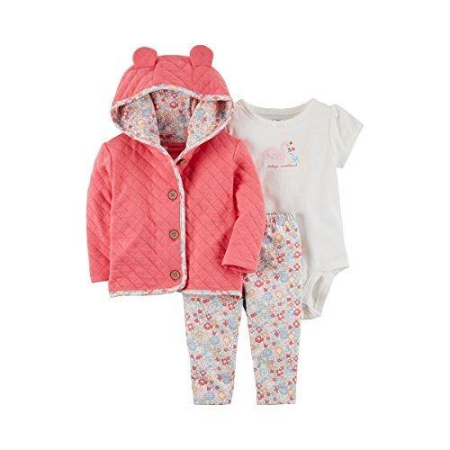 Piece 3 Morgan (Carter's Baby Girls' 3 Piece Swan Little Jacket Set 6 Months)