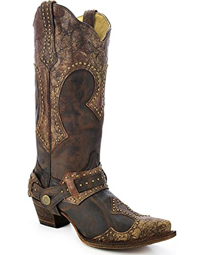 CORRAL Women's Studded Harness Cowgirl Boot Snip Toe Brown 8 M (Studded Harness Cowgirl Boots)