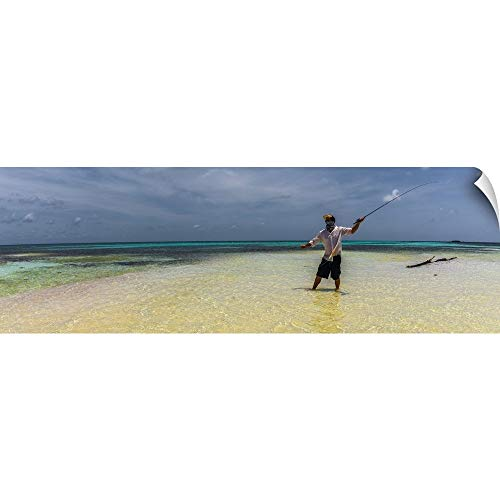Sean Sullivan Wall Peel Wall Art Print Entitled Fly Fishing on a Remote Island in Southern Belize 60