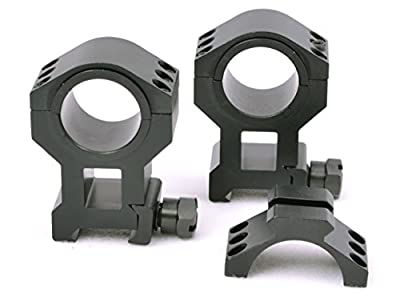 """Tms Heavy Duty Tactical High Scope Ring Set 30mm 1"""" Picatinny With Accessory Rail Tops"""