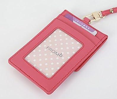 jnjstella Genuine Leather Credit Card Holder Wallet ID Badge Case Neck Strap