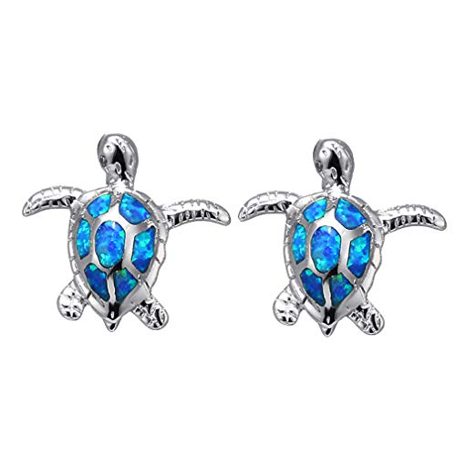 MING HUANG 925 Sterling Silver Plated 18K Rose Gold Yellow Gold Australian Blue Opal Stud Earrings Pendant Women (ABWGEH-12) ()
