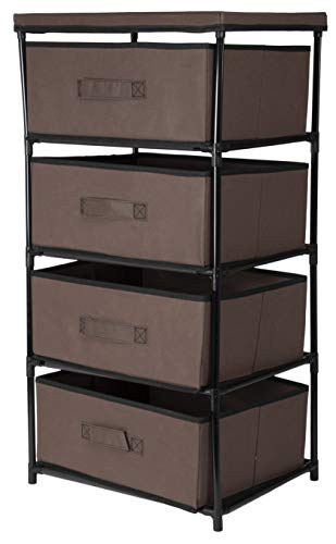 Juvale 4-Layered Storage Bin Cabinet Drawer for Clothing, Underwear, Documents, Household Objects - Dark Brown, 16.5 x 13 x 33 inches (Furniture Crate Barrell And)