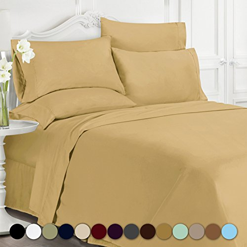 Swift Home Premiere 1800 Collection Brushed Microfiber - 4 Piece Sheet Set(Includes 1 Bonus Pillowcase), Twin, Camel
