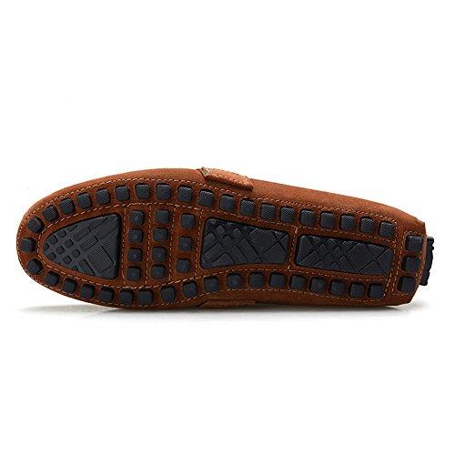 Scarpe Elegante di Guida Uomo Nato Stripe Pelle 0028 Scamosciata Abbronzatura Jamron Mocassini Z0q5xwx8