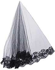 KASTWAVE Lace Black Veil Halloween Mantilla Cathedral Tulle Sheer Wedding Bride Veil Waist Length Headwear Headdress for Stage Costume Party Decorations