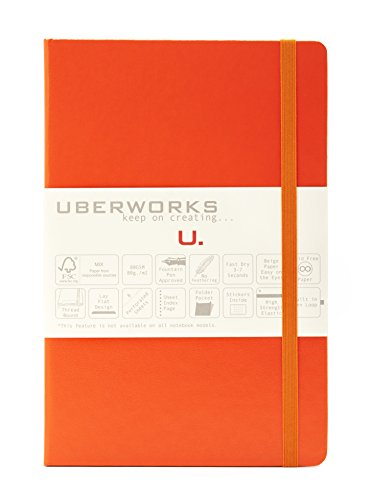 2nd Edition UBERWORKS TEHNIK Classic Orange Hardcover Dotted/Dot Grid Elastic Closure Notebook/Bullet Journal A5 Medium 5.6x8.4in 192 Pages 80gr. Smooth Ivory Paper, Index, Back Pocket & Labels (Orange Bullet)