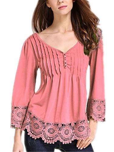 Colore Vintage V Primaverile Del Unico Pink Donna Camicetta 4 Bluse Merletto Puro Magliette Cucitura neck 3 Elegante Manica Prodotto Estivi Tempo Fashion Shirts Baggy Libero Plus fYfgR8Z