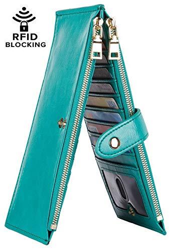 Chelmon Womens Genuine Leather Wallet RFID Blocking Credit Card Holder Zipper Purse(victoria green A)