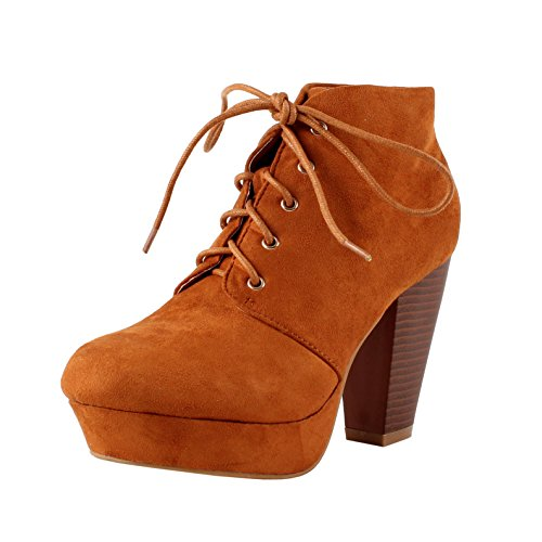 new Bella Marie Goldie-11 Women's Fashion High Chunky Heel Platform Lace Up Booties hot sale