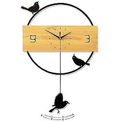 TTPF Modern Decorative Wall Clock with Pendulum Large Square Simple Pendulum Clock Living Room Decorative Nordic Clock Personalized Decoration Hanging Table,48×75CM