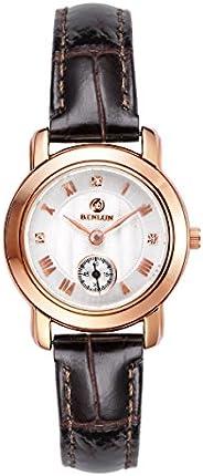Binlun Round Face Roseate Case Brown Genuine Leather Band Quartz Watch