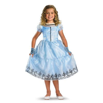 [Disguise Girls Deluxe Blue Alice Costume Dress - Child Small] (Deluxe Dress Child Costumes)