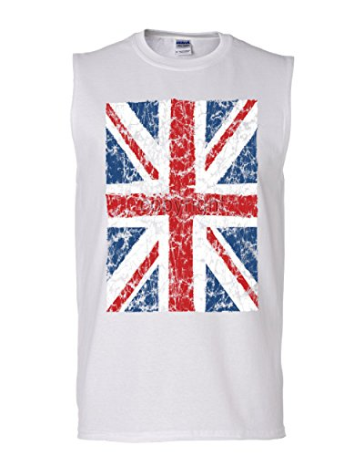 Union Jack Muscle Shirt United Kingdom Distressed British Flag White - Muscle Jack